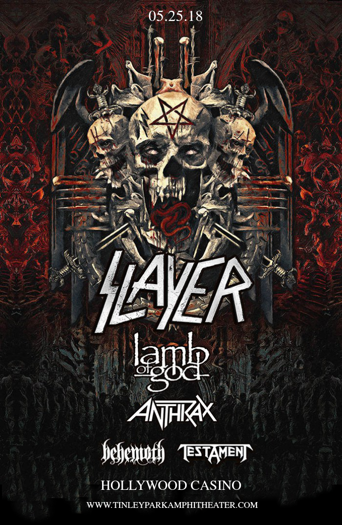 Slayer, Lamb of God, Anthrax. Behemoth & Testament at Hollywood Casino Ampitheatre
