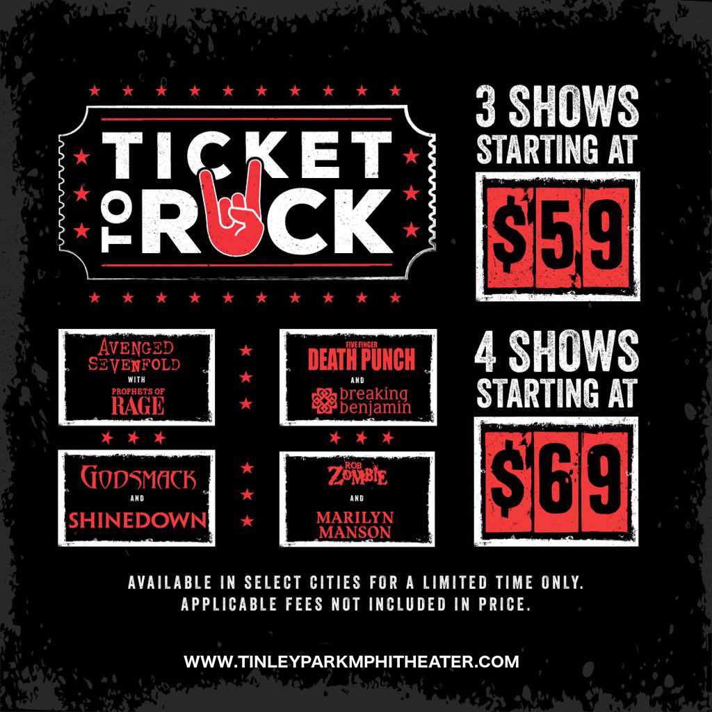 Ticket To Rock (Includes Shinedown, Avenged Sevenfold, Rob Zombie & Five Finger Death Punch Performances) at Hollywood Casino Ampitheatre